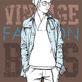 Stylish young guy on a grunge background. Vector illustration. — Stock Vector