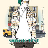 Stylish young guy on a street-background. Vector illustration. — Stock Vector