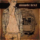 スタイリッシュな男と古い路面電車のベクトル イラスト. — ストックベクタ