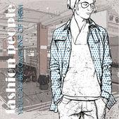 Stylish young guy at subway station. Vector illustration — Stock Vector