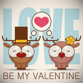 Valentines day greeting card with cartoon deer characters. — Stock vektor