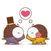 Valentines day greeting card with cartoon turtle characters. — Stock Vector