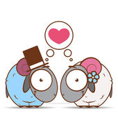 Valentines day greeting card with cartoon sheep characters. — Stock Vector