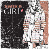 Vintage vector illustration of lovely fashion girl. — Stock Vector