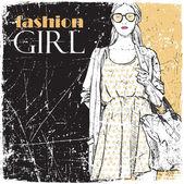 Vintage graffiato sfondo con bella moda ragazza. — Vettoriale Stock