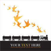 Abstract vector illustration of locomotive and birds. — Stock Vector