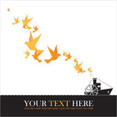 Abstract vector illustration of steamship and birds. — Stock Vector