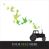 Abstract vector illustration of tractor and birds. — Stock Vector