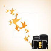 Abstract vector illustration of barrels and birds. — Stock Vector