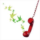 Ilustración vectorial abstracto del teléfono y aves. — Vector de stock