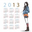2013. Calendar with fashion girl. - Stockvectorbeeld