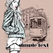 EPS10 vector illustration of a pretty fashion girl and old tram. Vintage style. - Stockvectorbeeld