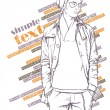 Stylish dude on a grunge background. Vector illustration. - Vettoriali Stock