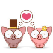 Valentines day greeting card with cartoon piggy characters. — Stock Vector