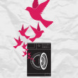 Abstract vector illustration of washing machine and birds. - Stock Vector