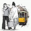 EPS10 vector illustration of a pretty fashion girls and old tram. Vintage style. - Stockvectorbeeld