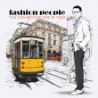 EPS10 vector illustration of a young stylish guy and old tram. Vintage style. - Stockvectorbeeld