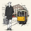 EPS10 vector illustration of a pretty fashion girl and old tram. Vintage style. — Stock Vector