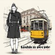 EPS10 vector illustration of a pretty fashion girl and old tram. Vintage style. - Векторная иллюстрация