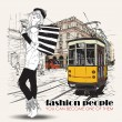 EPS10 vector illustration of a pretty fashion girl and old tram. Vintage style. - Vettoriali Stock