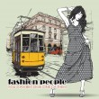 EPS10 vector illustration of a pretty fashion girl and old tram. Vintage style. — Vektorgrafik