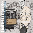 EPS10 vector illustration of a young stylish guy and old tram. Vintage style. — Stock Vector #22929078