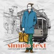 EPS10 vector illustration of a young stylish guy and old tram. Vintage style. - Vektorgrafik