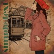 Vector illustration of a fashion girl and old tram. - Vektorgrafik