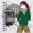 EPS10 vector illustration of a pretty fashion girl and old tram. Vintage style. - Vektorgrafik