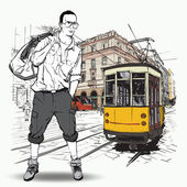 EPS10 vector illustration of a young stylish guy and old tram. Vintage style. — Stock Vector