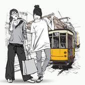 Eps10 vektör çizim moda güzel kızlar ve eski tramvay. vintage tarzı. — Stok Vektör