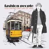 Eps10 时尚的年轻人和老电车矢量插图。复古风格. — 图库矢量图片