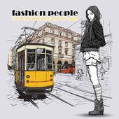 漂亮女孩的时尚和老电车 eps10 矢量插图。复古风格. — 图库矢量图片