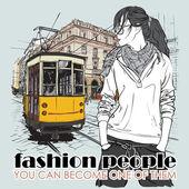 Moda güzel kız ve eski tramvay eps10 vektör çizimi. vintage tarzı. — Stok Vektör
