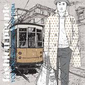 Eps10 vektorové ilustrace stylový mladíka a historické tramvaje. vintage styl. — Stock vektor