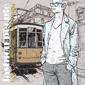 Eps10 vectorillustratie van een stijlvolle jonge kerel en oude tram. vintage stijl. — Stockvector