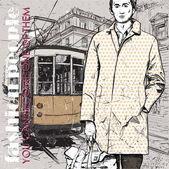 Eps10 illustrazione vettoriale di un giovane ragazzo elegante e vecchio tram. stile vintage. — Vettoriale Stock