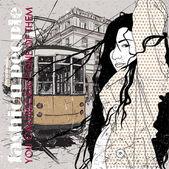 Eps10 vektorové ilustrace hezká móda dívka a historické tramvaje. vintage styl. — Stock vektor