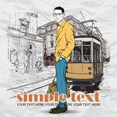 Eps10 векторные иллюстрации молодой стильный парень и старый трамвай. винтажный стиль. — Cтоковый вектор