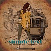 Ilustracja wektorowa moda dziewczyny i stary tramwaj. — Wektor stockowy
