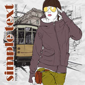 EPS10 vector illustration of a pretty fashion girl and old tram. Vintage style. — Cтоковый вектор