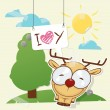 Cute collage from paper with funny deer. Vector illustration. — Stock Vector #22997396