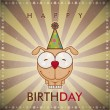 Happy birthday greeting card with funny cartoon doggy. - Stock Vector