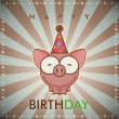 Happy birthday greeting card with funny cartoon pig. — Stock Vector #22998204
