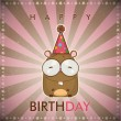 Happy birthday greeting card with funny cartoon hamster. — Stockvectorbeeld