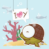 Cute collage from paper with funny turtle. Vector illustration. — Stock Vector