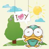 Lindo collage de papel con pato gracioso. ilustración vectorial. — Vector de stock