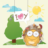 Cute collage from paper with funny hedgehog. Vector illustration. — Stock Vector
