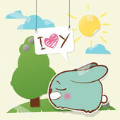Cute collage from paper with funny rabbit. Vector illustration. — Stock Vector