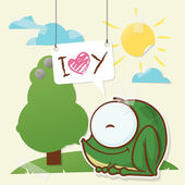 Cute collage from paper with funny frog. Vector illustration. — Stock Vector